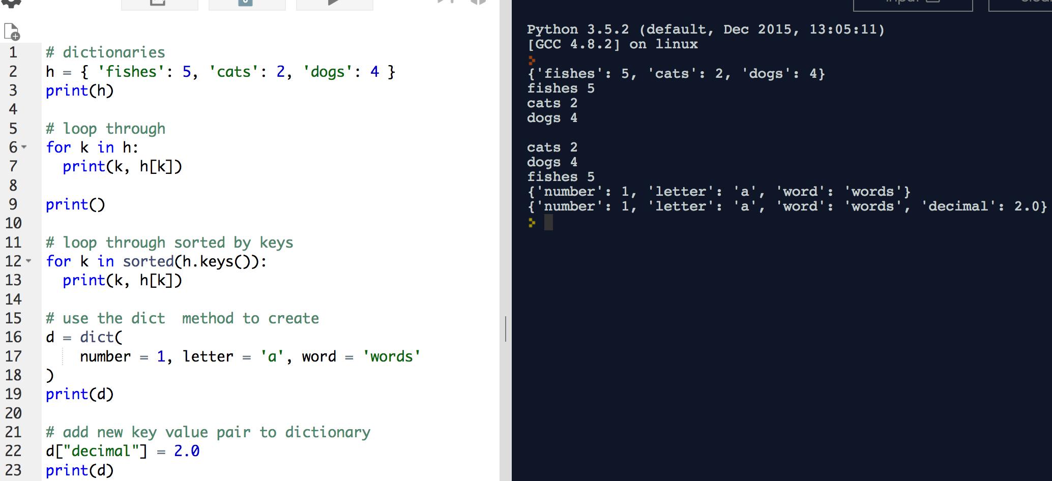 python 3 dictionary keys method